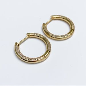 Jewelry - GOLD HOOP EARRINGS WITH CRYSTAL UNISEX MINIMALIST